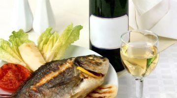 peixe e vinho